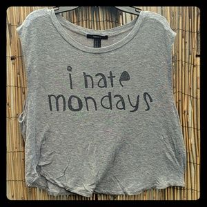 "Forever 21 ""I Hate Mondays"" Cropped Tee Shirt Med"